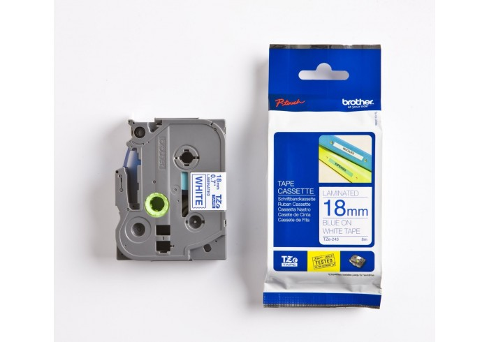 Brother nastro laminato blu su bianco TZe-243 TZ-243 18 mm x 8