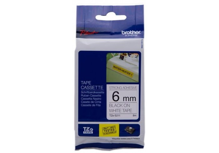 Brother nastro laminato nero su bianco TZe-S211 TZ-S211 6 mm x